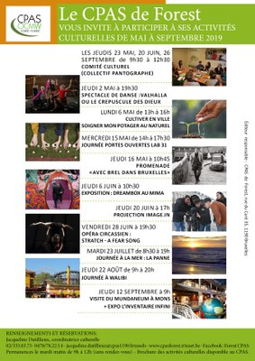 Affiche activités culturelles Mai 2019