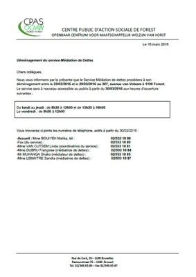 Déménagement Service de Médiation de Dettes